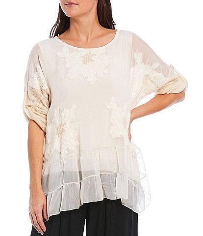M Made in Italy Sequined Floral Roll-Up Sleeve Blouse