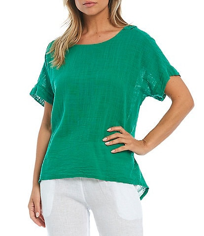 M Made in Italy Short Sleeve Lace Back Cotton Top