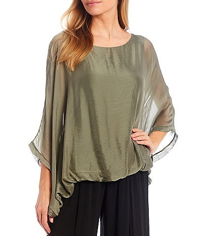 M Made in Italy Silk Blend 3/4 Sleeve Bubble Hem Poncho Top