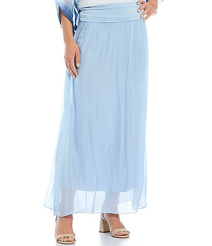 M Made in Italy Silk Blend Maxi Skirt
