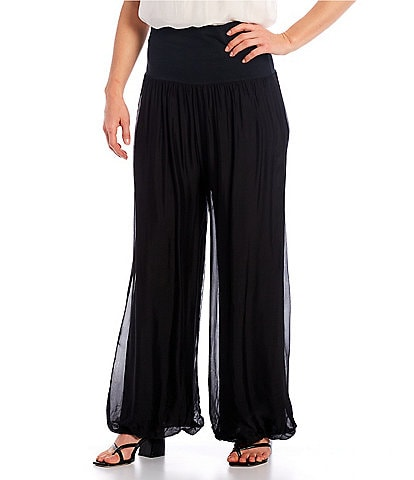 M Made in Italy Silk Blend Palazzo Pant