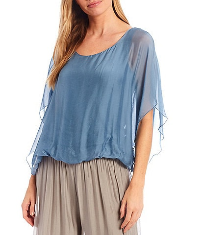 M Made in Italy Silk Blend Scoop Neck Short Flutter Sleeve Poncho Top