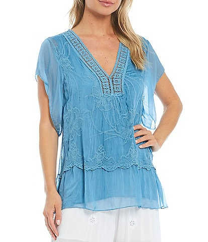 M Made in Italy V-Neck Flutter Short Sleeve Embroidered Layered Silk Blend Top
