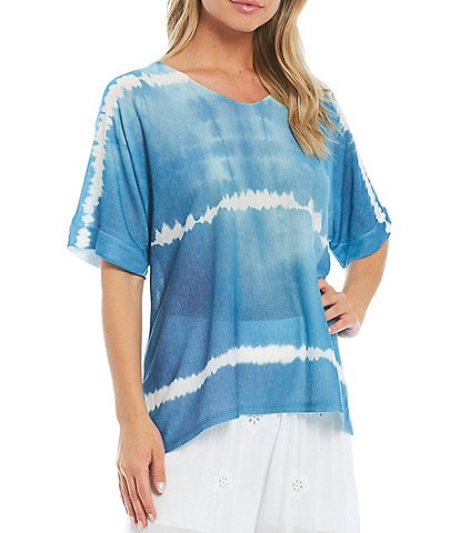 M Made In Italy V-Neck Short Sleeve Knit Tie-Dye Tunic