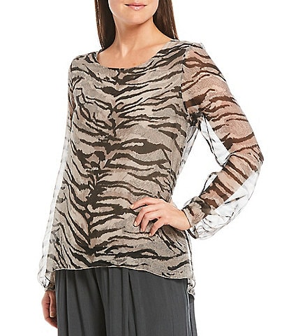 M Made in Italy Zebra Print Long Illusion Sleeve Round Neck Silk Blend Top