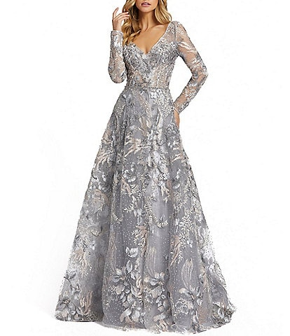 Mac Duggal Beaded Long Sheer Sleeve V-Neck Illusion Ball Gown
