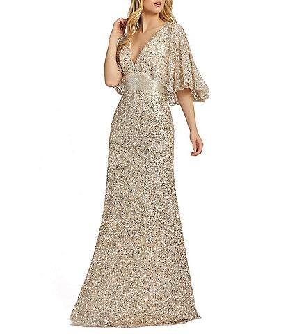 Mac Duggal Caplet Short Sleeve Deep V-Neck Beaded Sheath Gown