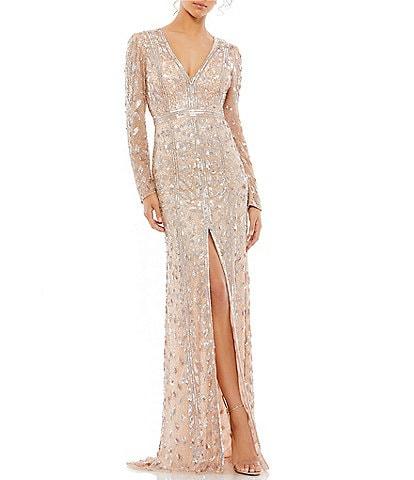 Mac Duggal Deep V-Neck Long Sleeve Beaded Sheath Gown