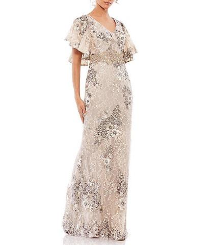 Mac Duggal Flutter Short Sleeve Floral V-Neck Sheath Gown