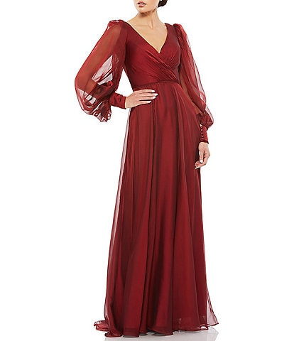 Mac Duggal Long Balloon Sleeve V-Neck Fully Lined A-Line Gown