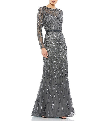 Mac Duggal Long Sleeve Beaded Crew Neck Fully Lined Sheath Gown