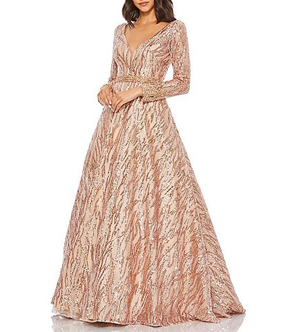 Mac Duggal Long Sleeve Beaded Waist Sequin V-Neck Ball Gown
