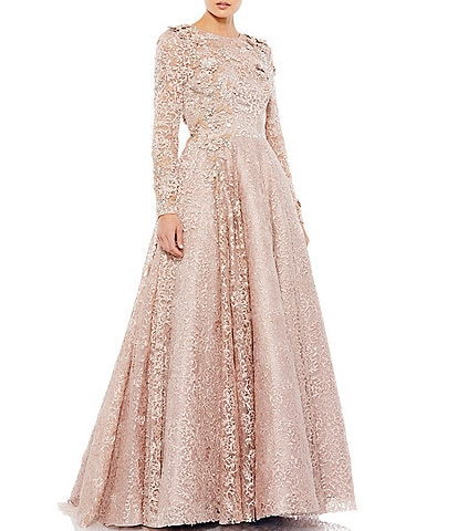 Mac Duggal Long Sleeve Crew Neck Floral Applique Ball Gown