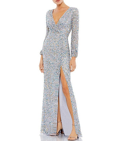 Mac Duggal Long Sleeve Deep V-Neck Sequin Slit Sheath Dress