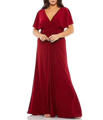 Mac Duggal Plus Size Flutter Short Sleeve V-Neck Ruched Waist Jersey Gown