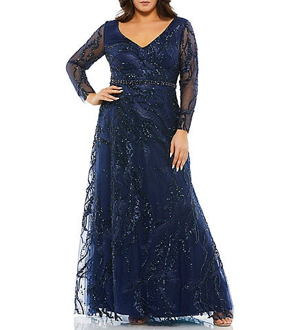 Mac Duggal Plus Size Sequin Long Sheer Sleeve V-Neck Beaded Waist A-Line Gown