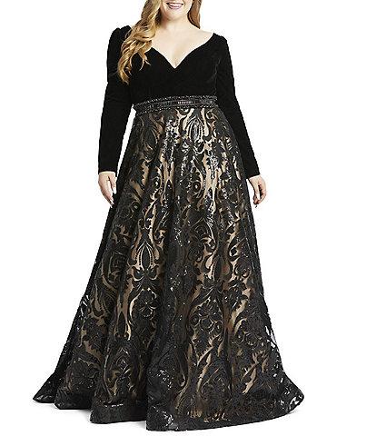 Mac Duggal Plus Size Velvet Sequin V-Neck Long Sleeve Ball Gown
