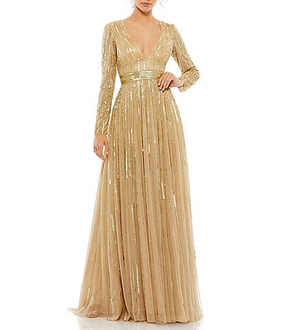Mac Duggal V-Neck Long Sleeve A-Line Sequin Gown