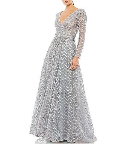 Mac Duggal V-Neck Long Sleeve Sequin Ball Gown