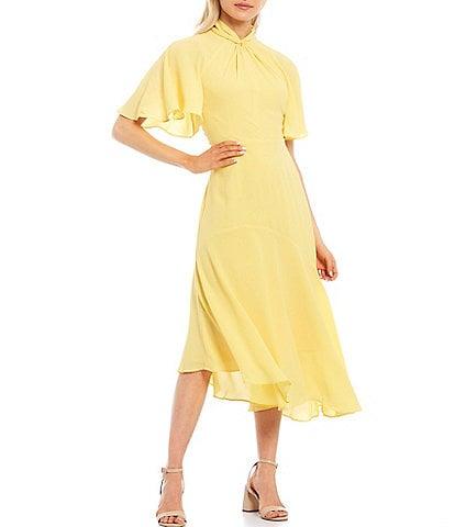 Maggy London Asymmetrical Crepe Midi Stretch Dress