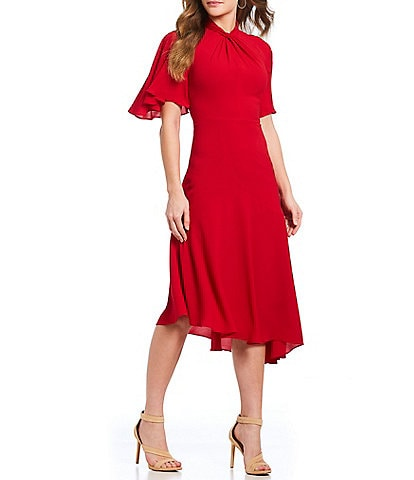 Maggy London Asymmetrical Crepe Midi Stretch Dress