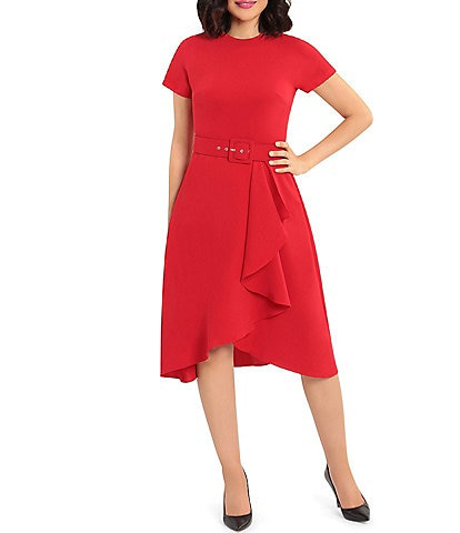 Maggy London Belted Ruffle Front Crepe Dress