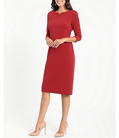 Maggy London Boat Neck 3/4 Sleeve Knit Midi Sheath Dress