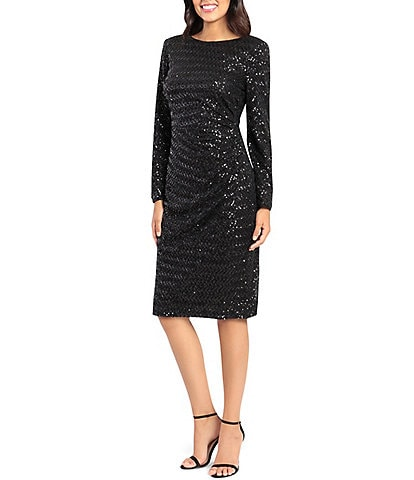 Maggy London Boat Neck Side Ruched Long Sleeve Stretch Sequin Midi Dress