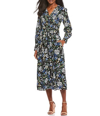 Maggy London Button Front Floral Midi Dress