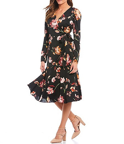 Maggy London Charmeuse Floral Print Faux Wrap Midi Dress
