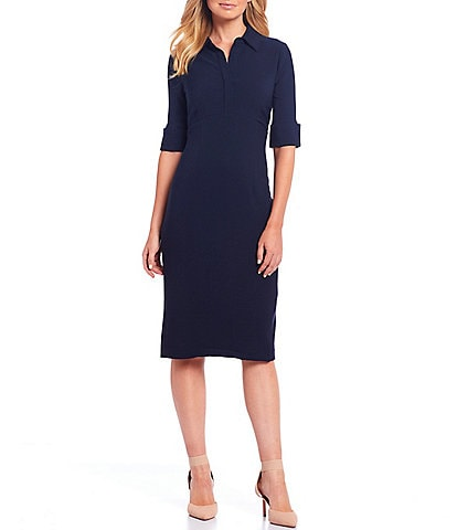 Maggy London Collared Stretch Crepe Midi Sheath Dress