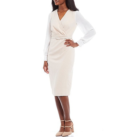 Maggy London Color Block Belted Stretch Crepe V-Neck Long Sleeve Sheath Dress