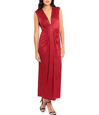 Maggy London Deep V-Neckline Luxe Jersey Gown