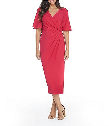 Maggy London Draped Faux Wrap Flutter Sleeve Crepe Midi Dress