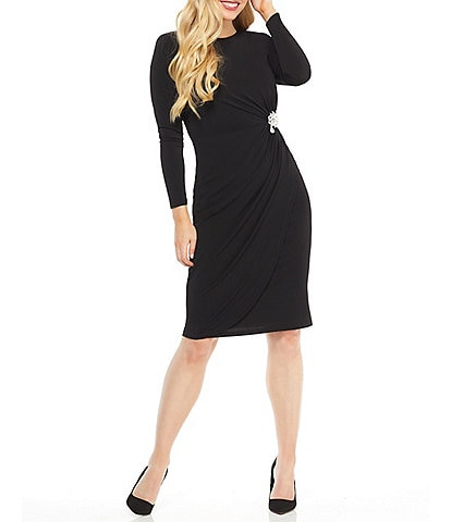 Maggy London Embellished Ruched Long Sleeve Crepe Sheath Dress