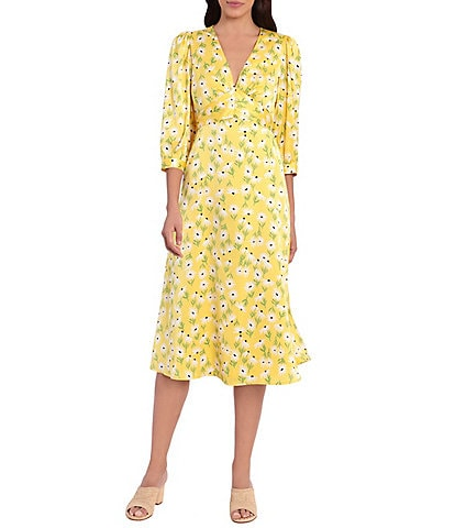 Maggy London Floral Charmeuse Tie Back Midi Dress