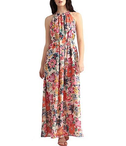 Maggy London Floral Halter Trapeze Maxi Dress