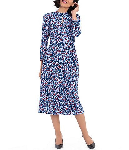 Maggy London Floral Print Matte Jersey Midi Dress