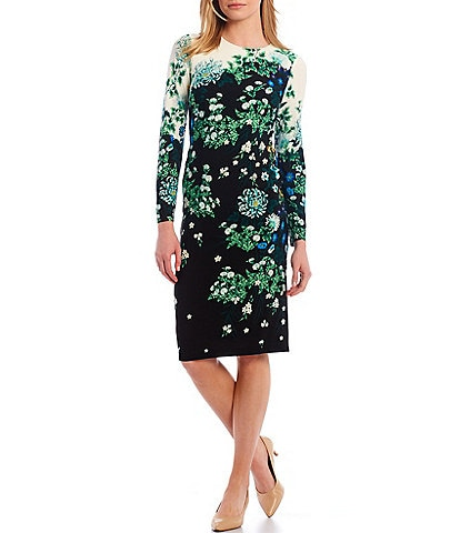 Maggy London Floral Print Matte Jersey Midi Sheath Dress