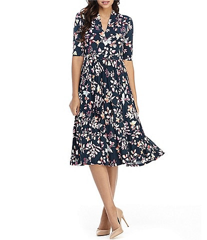 Maggy London Floral Print Pleated A-Line Midi Dress