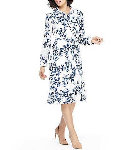 Maggy London Floral Toille Bubble Crepe Tie Waist Long Sleeve Shirt Dress