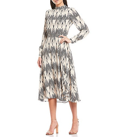 Maggy London Geo Print Mock Neck Long Sleeve Georgette Midi Dress