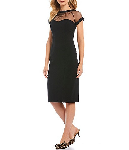 Maggy London Illusion Neck Midi Sheath Dress