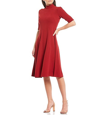 Maggy London Mock Neck 3/4 Sleeve Scuba Crepe Midi Dress