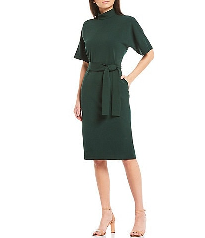 Maggy London Mock Neck Dolman Sleeve Tie Waist Sheath Dress
