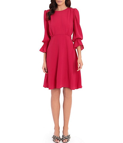 Maggy London Petite Size 3/4 Sleeve Catalina Crepe Fit & Flare Dress