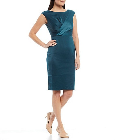 Maggy London Petite Size Cap Sleeve Criss-Cross Front Sheath Dress