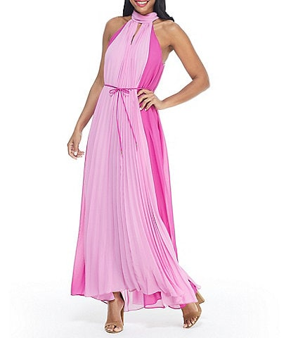 Maggy London Petite Size Colorblock Hatler Neck Sleeveless Pleated Ankle Length Dress
