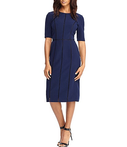 Maggy London Petite Size Elbow Sleeve Trimmed Dream Crepe Sheath Dress