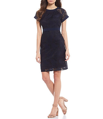 Maggy London Petite Size Embroidered Floral Mesh Illusion Sheath Dress